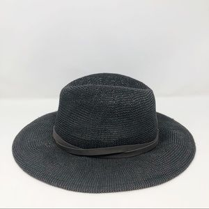 Free People Black Straw Hat Leather Trim